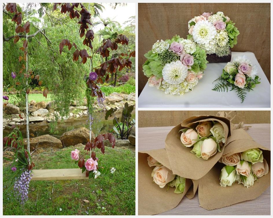Dahlia and rose garden bouquet