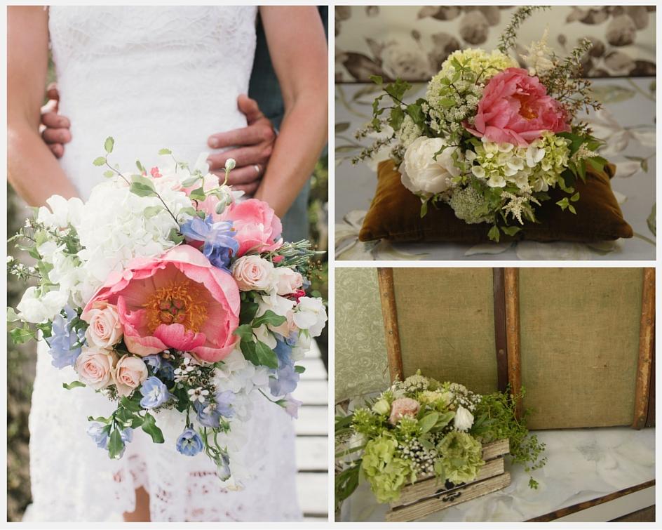 Summer Vintage coral wedding bouquet