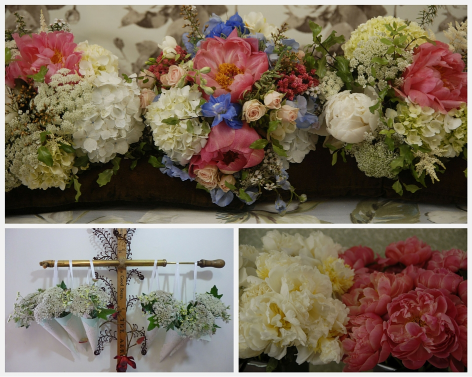 Summer Vintage blue and peach bouquets